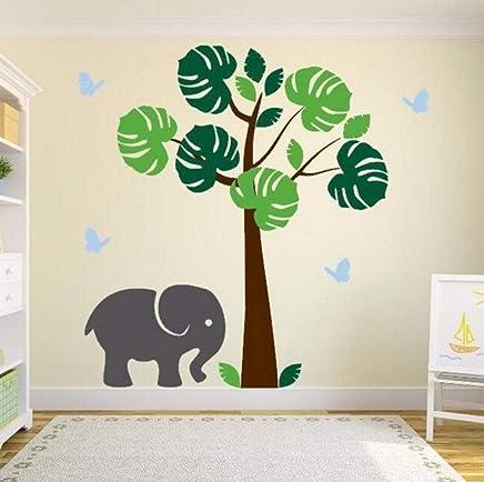 Dalxsh Jungle Tree Baby Girl Nursery Wall Arte en vinilo Elefante y mariposasPegatinas de vinilo para pared de calidad perfecta 32x60 cm