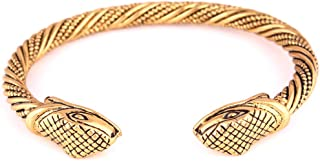 FAIRY ELVEN Men's Viking Fenrir Dragon Head Twisted Wire Cuff Bracelet