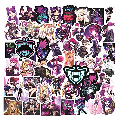 ZXXC 50Pcs/Pack Kda Lol Game Lable Stickers For Notebook Motorcycle Skateboard Computer Mobile Phone Decal Cartoon Toy