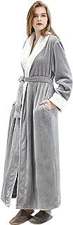 Women's Luxurious Fleece Bath Robe Plush Soft Warm Long Terry Bathrobe Full Length Sleepwear