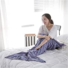 DEI QI Wearable Mermaid Tail Blanket Crochet, All Seasons Warm Knitted Bed Blankets Sofa Living Room Quilt for Kids and Adults, Fish-Scales Pattern, 55