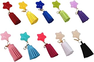 Honbay 10pcs Multicolor Star Faux Suede Tassels Pendants with Gold Lobster Clasp for Key Chain DIY Craft Accessories
