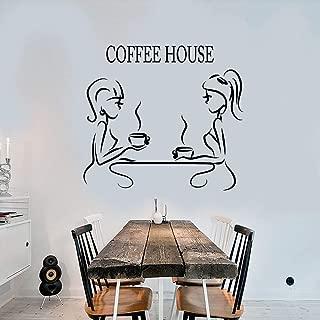 WSLIUXU Cafe Leisure Wall Sticker Vinyl Coffee House Party Logo Wall Decal Detachable House Decoration Wallpaper Home Garden Wall Sticker Dark Gray 28 42x50cm