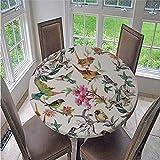 Chickwin Tischdecke Runden, 3D Blumen Druck Tischdecken Elastisch Wasserdicht Lotuseffekt Abwischbar Abwaschbar Tischtuch für Küche Outdoor Garten Dekoration (Papagei,150cm/59in)