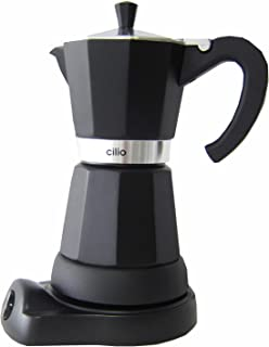 Cilio Classico - Cafetera eléctrica de Estilo Italiano (6 Tazas), Color Negro