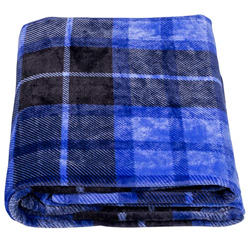 SOCHOW Flanell Fleecedecke 127 × 150 cm, ganzjährig Blau Karierte Decke für Bett, Couch, Auto