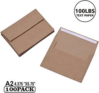 100 Pack, Size A2, 100lbs Brown Kraft Paper Envelopes | Self Sealing Adhesive| Perfect for Weddings, Invitations, Baby Shower| Stationery for General, Office | 4.375 x5.75 Inches (A2)