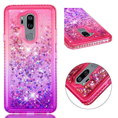 Sycode Liquide Coque pour LG G7,Glitter Housse pour LG G7,Créatif Pente Couleur Diamant Brillant Paillette écoulement En mouvement Coeur D'amour Cristal Clair Doux Caoutchouc Tpu Cas Couverture Étui de Protection pour LG G7-Rose Violet