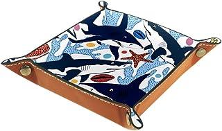 BestIdeas Panier de rangement carré 20,5 × 20,5 cm, avec requins, coquillages, étoile de mer et coraux, motif marin color...