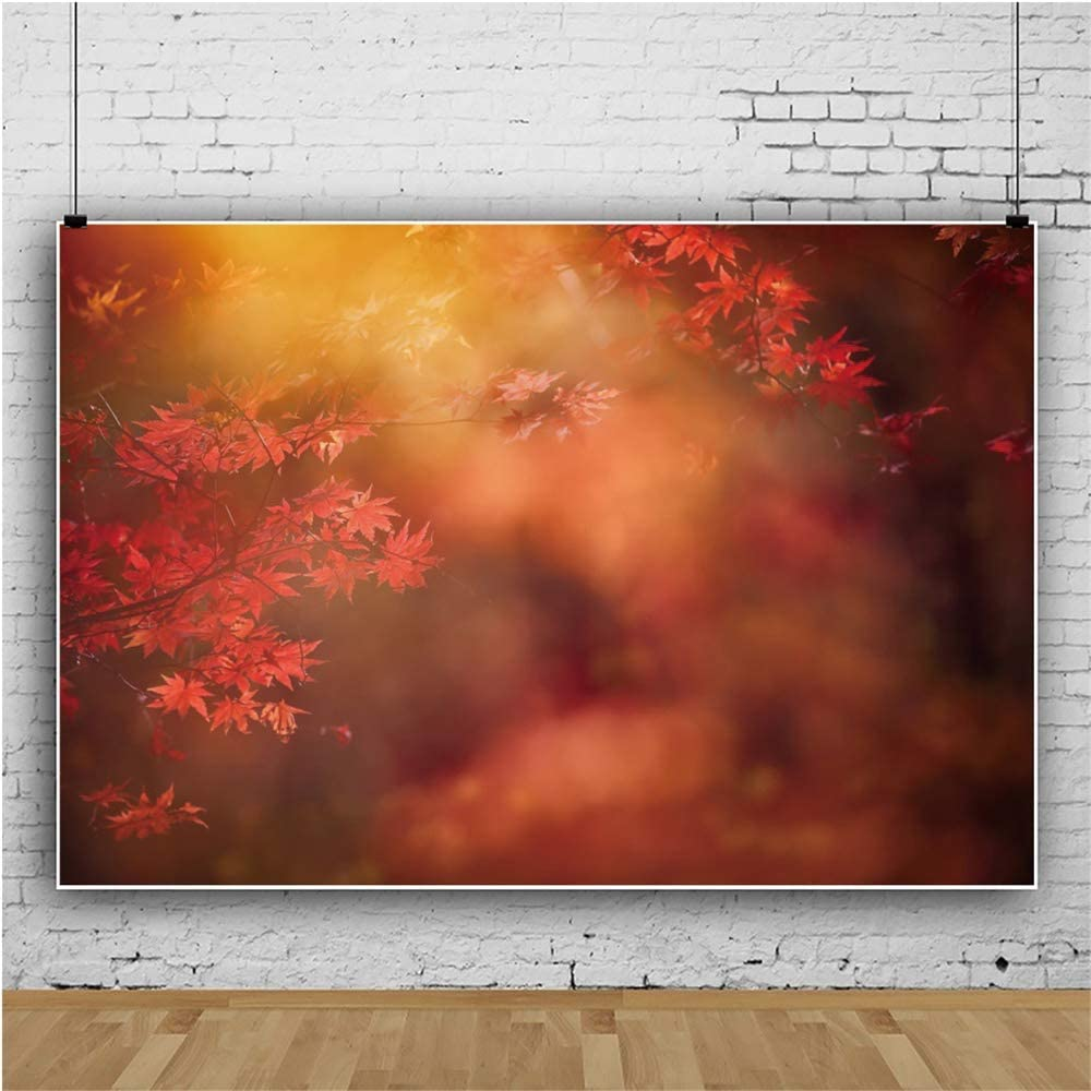 CSFOTO 8x6.5ft Autumn Backdrop Red Maple Leaves Background for Photography Autumn Theme Party Decor Bokeh Natural Scenery Interior Decor Adults Kids Newborn Portraits Wallpaper