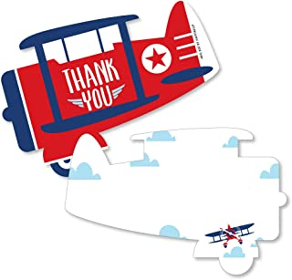 Taking Flight - Airplane - Shaped Thank You Cards - Vintage Plane Baby Shower or Birthday Party Thank You Note Cards with Envelopes - Set of 12
