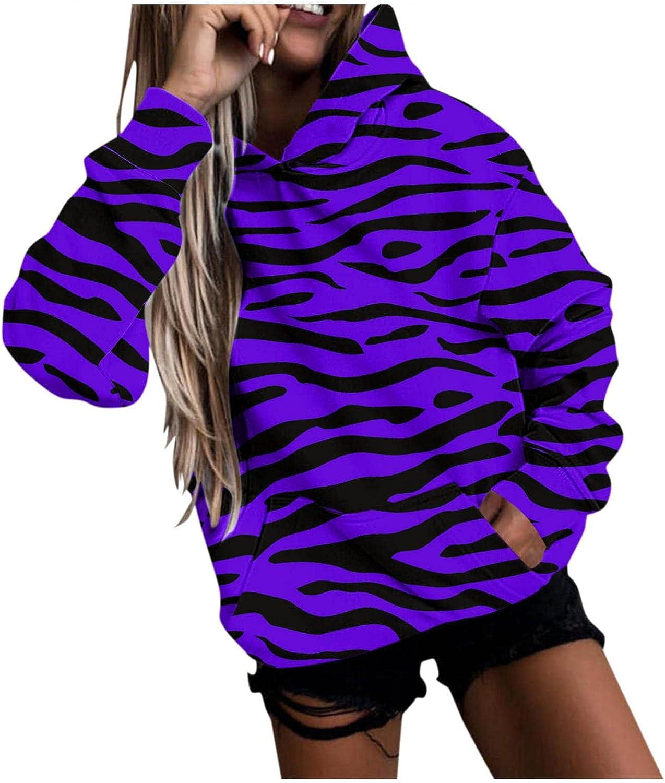 felwors Hoodies for Teen Girls, Women Hoodie Sweatshirts Casual Tunic Tops Long Sleeve Striped Print Shirts with Pockets