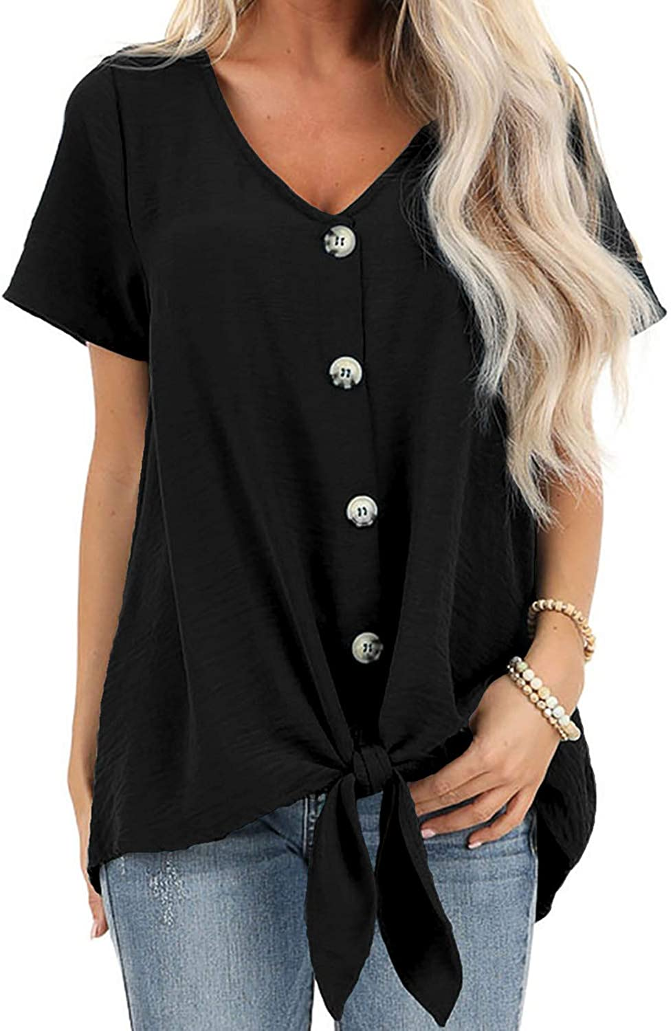 Sidefeel Women Short Sleeve Button Down Blouse Tie Front T-Shirt Tops