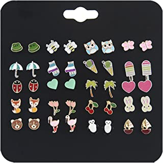 Ainiya 20 Pairs Small Cute Multiple Animal Stud Earrings Set For Girls Kids