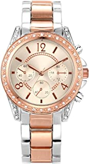 NUOVO Women's Rose Gold Watch Analog Quartz Stainless Steel Band 38MM Watch Crystal Bezel Beige Satin Dial with Crystal and Large Arabic Number Hour Markers
