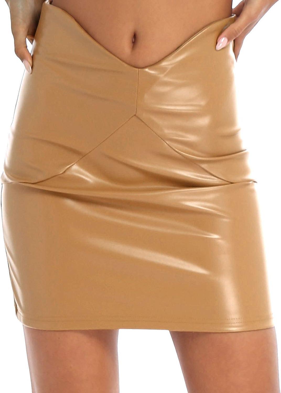 renvena Women's PU Leather Vintage High Waist Casual Bodycon Slim Mini Pencil Skirt
