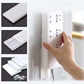 Power Strip Holder, AZXYI 4 Pack Surge Protector Wall Mount, Self Adhesive Socket Holder for Power Strip Fixator, WiFi Rou...