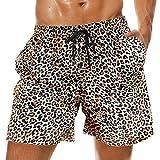 Queen Hero Mens Leopard Swim Trunks Short Swimming...