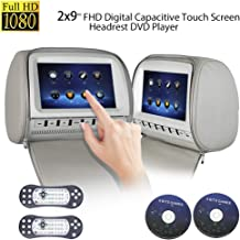 2x9inch Touch Screen 1080P Car Headrest DVD Player Video Monitor with Leather Cover Zipper FM&IR Transmitter Games for Kids Road Trips Entertainment System (Grey)