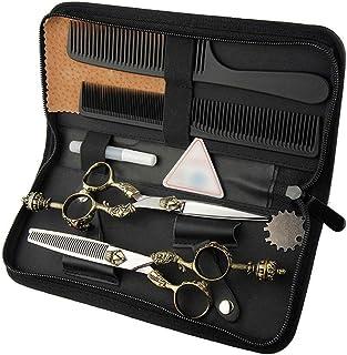 Professional Barber 6 Inch Hairdresser Professional Hairdressing Set, Retro Handle Scissors Flat Scissor + Tooth Scissor T...