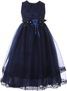 bf7ae17e587e Little Girls Navy Lace Trim Double Layered Tulle Flower Girl Dress 2-6