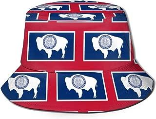 Wyoming Flag Pattern Bucket Hat Summer Fisherman Cap Sun Hat for Women Men Black