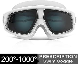 Zionor RX Prescription Swim Goggles, Optical Corrective Swimming Goggles Leakproof Anti-Fog UV Protection Nearsighted Shortsighted Myopia for Men and Women
