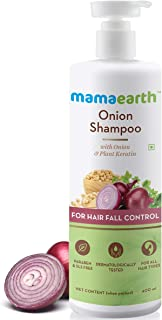 Mamaearth Onion Shampoo for Hair Growth & Hair Fall Control with Onion Oil & Plant Keratin 400ml