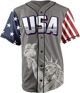 Greater Half Custom Baseball Jersey Button Down USA Grey America #1 (Small-4XL)