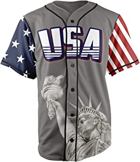 Custom Baseball Jersey Button Down USA Grey America #1 (Small-4XL)