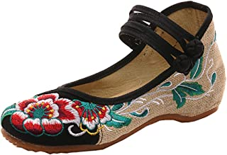 Womens Folk Style Shoes Rubber Sole Peony Embroidered Bride Flats