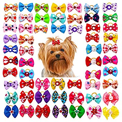 YARUMI 50 Pieces Dog Hair Bows With Rubber Bands Cute Puppy Bowknot Rope Hair Band Rhinestone Pearls Handmade Cat Topknot Assorted Pet Grooming Products For Long Hair Small Pets, Random Style