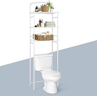 Amzdeal Etagères de Salle de Bain, Meuble de Rangement au-Dessus des Toilettes avec 3 Tablettes, Meuble Etagères de WC, Bl...