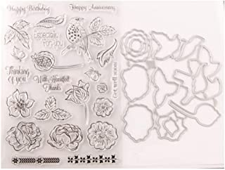 Floral Bird Leaves Words Happy Anniversary Birthday Get Well Soon Especially for You Clear Rubber Stamps and Cut Dies Set ...