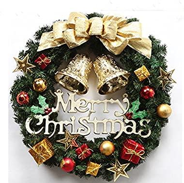 Nevosoo 24 Inches Christmas Wreath for Front Door Merry Christmas Artificial Pine with Gold Berriest Garland for Outdoor and