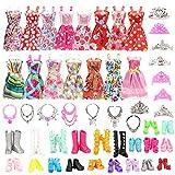Festfun 32 Vêtement & Accessoires de Poupée 10 Robes Chics + 22 Accessoires ( 10 Chaussures + 6 Colliers + 6 Couronnes) pour Poupée Fille de 11,5 Pouce (Style Aléatoire )
