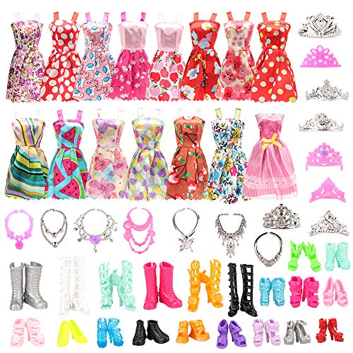 Miunana Lot 32 = 10 Kleider + 10 Schuhe + 6 Kronen + 6 Ketten für Puppen