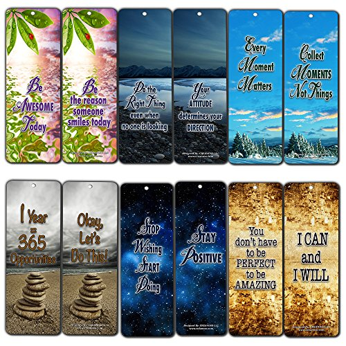 Creanoso Inspiring Positive Mindset Bookmark (30-Pack) – Stocking Stuffers Gift for Men & Women, Teens - Rewards Gifts – Awesome Bookmark Collection – Inspiring Quote Sayings for Friends - Bulk Pack