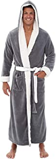 Padaleks Men's Soft Fleece Hooded Robe Full Length Plush Shawl Kimono Bathrobe Warm Winter Homewear Sleepwear