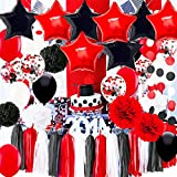 Black Red White Graduation Decorations 2021/Graduation White Black Red Balloons Pirate Birthday Party Decorations/ First Birthday Girl Decorations Minnie Mouse Birthday Party Decorations