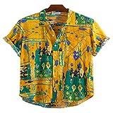 Corumly Herren Kurzarmhemden Mode Trendy Revers Lose Bedruckte Kurzhemden Ethnische Casual Kurzarmhemden M