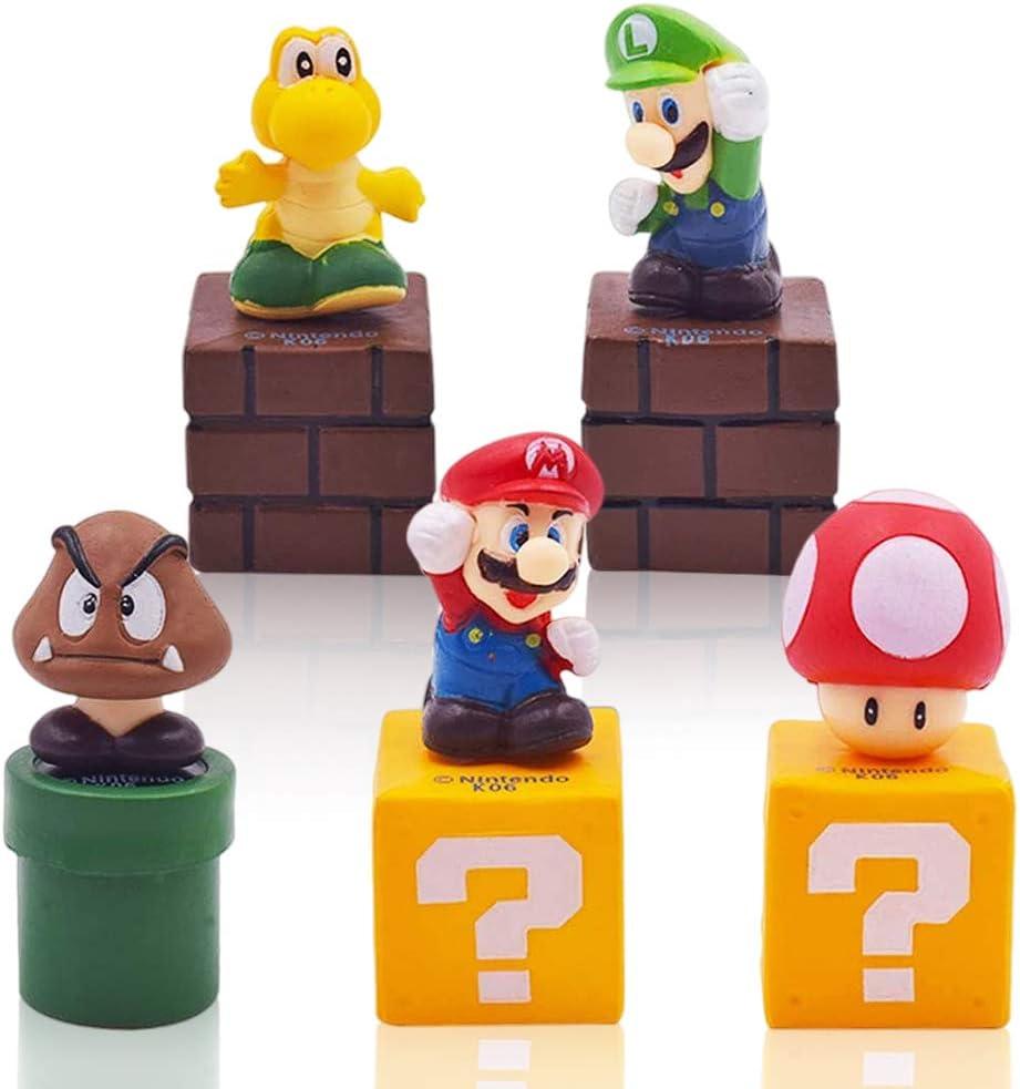 CYSJ 5 PCS Decoración para Tarta de Super Mario, Dibujos Animados para Cumpleaños Decoración, Tarta de Cumpleaños de Decoración de Pastel de Cumpleaños, Niños