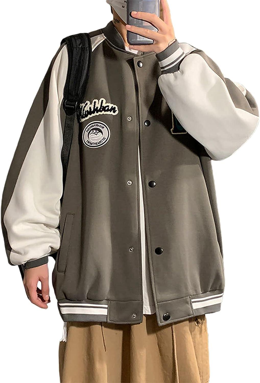 Jersey Jacket for Unisex Y2k Hip Hop Zip Up Bomber Jacket Loose Art Letter Baseball Uniform 2000s Fall Sweatshirt Coat