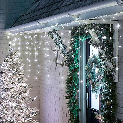 YOLIGHT 13ft 96 LEDs Icicle Curtain String Drop Lights, Indoor Outdoor Decoration for Christmas Festival Wedding Party Patio Garden (White)