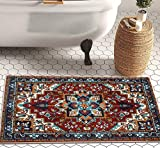 YoKii Southwest Persian Oriental Bathroom Rug Shaggy Soft Faux Wool Rubber Backing Non-Slip Bath Mat Boho Vintage Tribal Traditional Shag Bath Rugs Floral Medallion Washable (Red, 16 x 24)