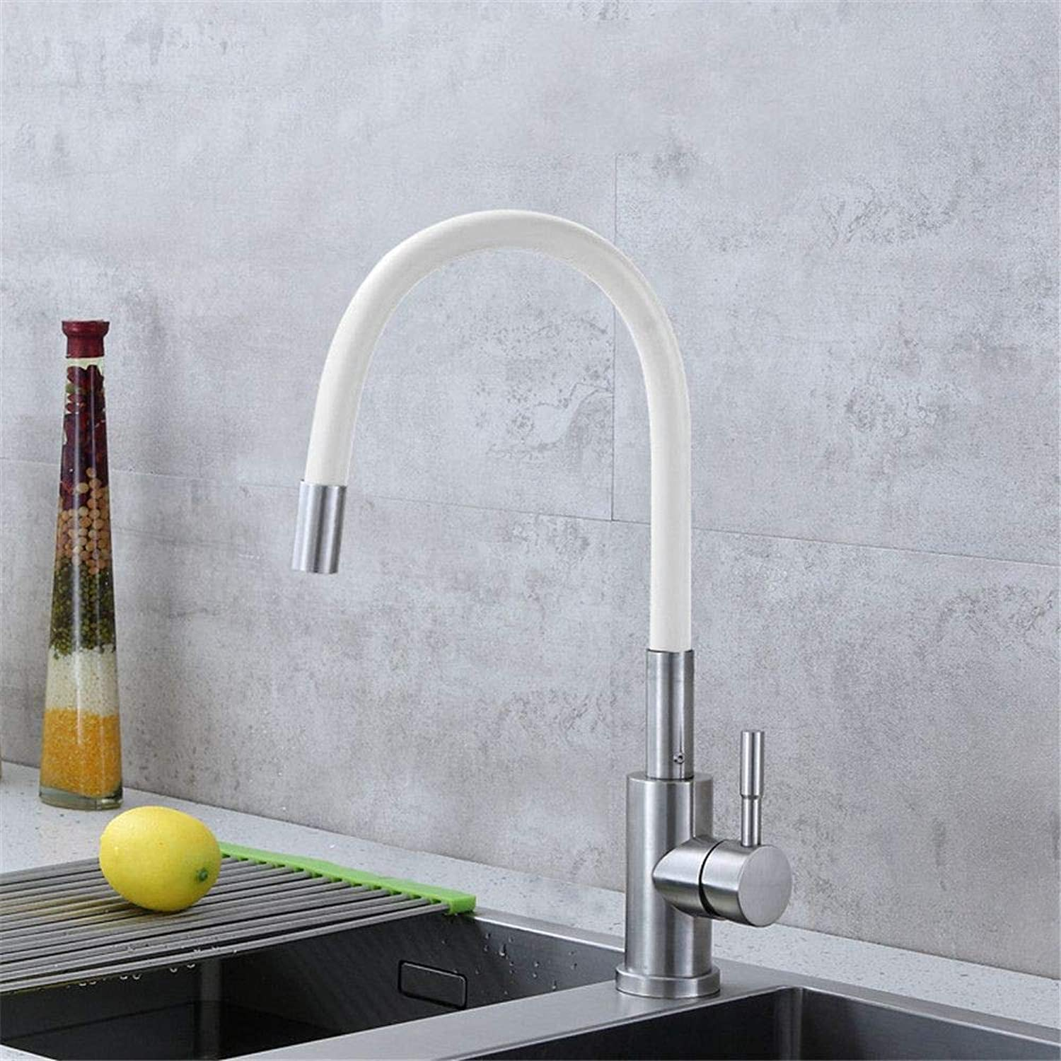 304 Stainless Steel Kitchen Faucet Cold Water Mixer Kitchen Sink Faucet redary Universal color Tube Single Handle,Gules-White