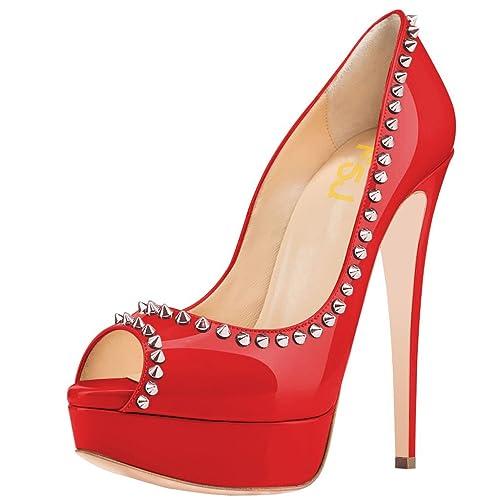 0fead4a4a54 Studded Red Pump Heels: Amazon.com