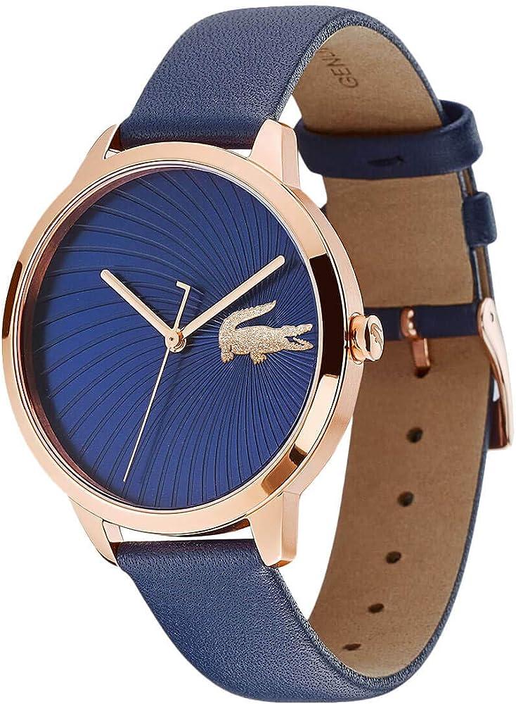 Lacoste,orologio analogico al  quarzo per donna, con cinturino in pelle e cassa in acciaio 2001058
