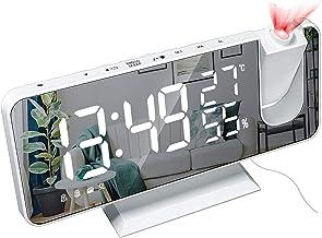 Temperatuur en vochtigheid Multifunctionele radio Projectie Wekker, Creatieve LED-spiegelklok, elektronische digitale klo...