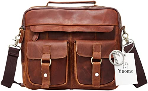 venderse como panqueques Bolso robusto de de de cuero genuino de Yoome para hombres bolso de la cartera del bolso del bolso de la vendimia - rojo marrón  en linea